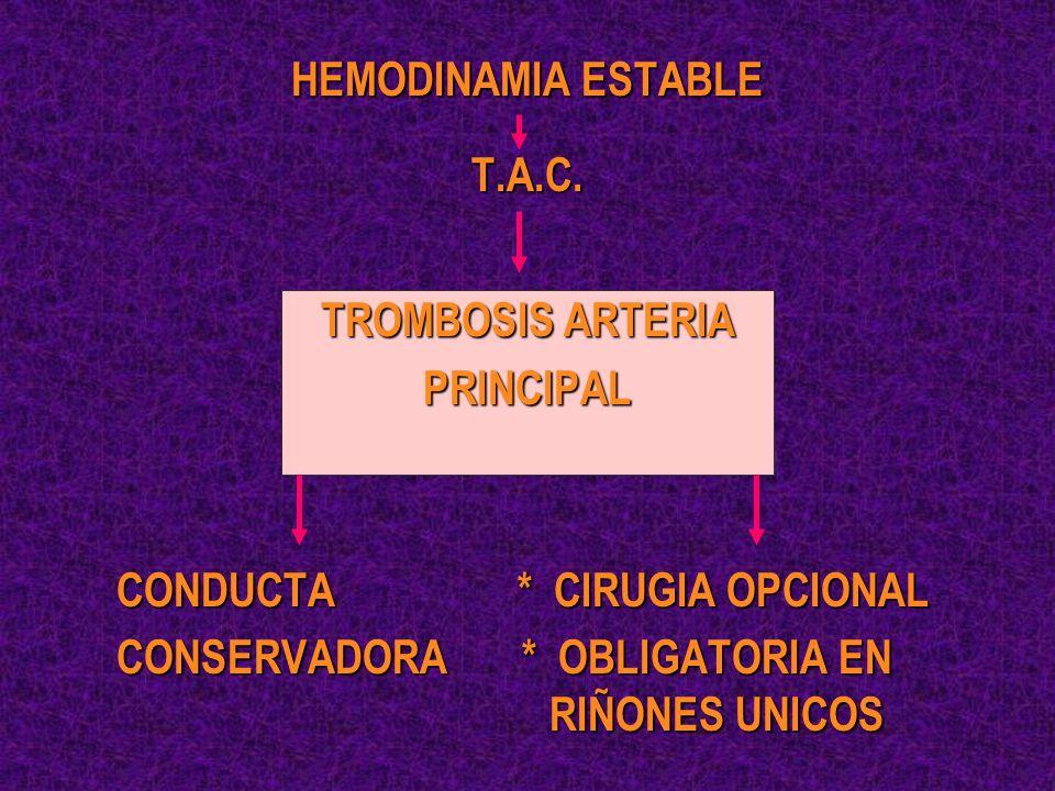HEMODINAMIA ESTABLE T.A.C. TROMBOSIS ARTERIA. PRINCIPAL. CONDUCTA * CIRUGIA OPCIONAL.