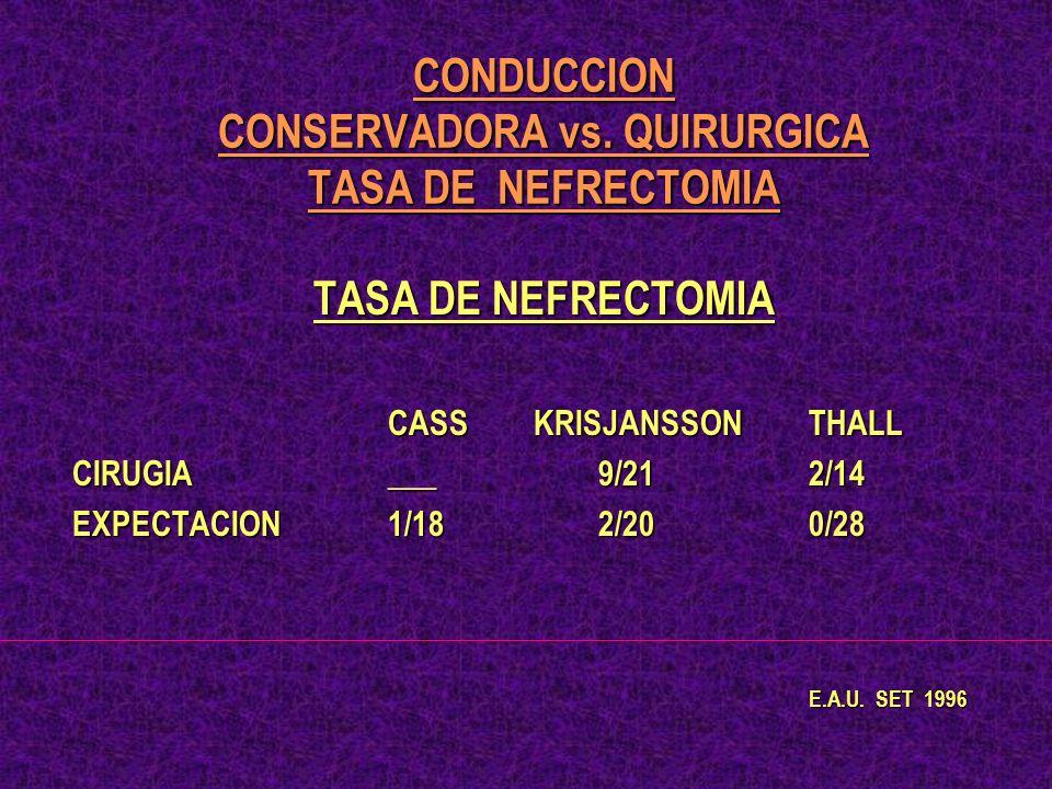 CONDUCCION CONSERVADORA vs. QUIRURGICA TASA DE NEFRECTOMIA