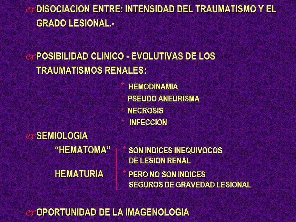 DISOCIACION ENTRE: INTENSIDAD DEL TRAUMATISMO Y EL GRADO LESIONAL.-