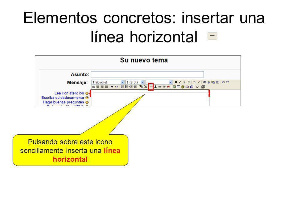 Elementos concretos: insertar una línea horizontal