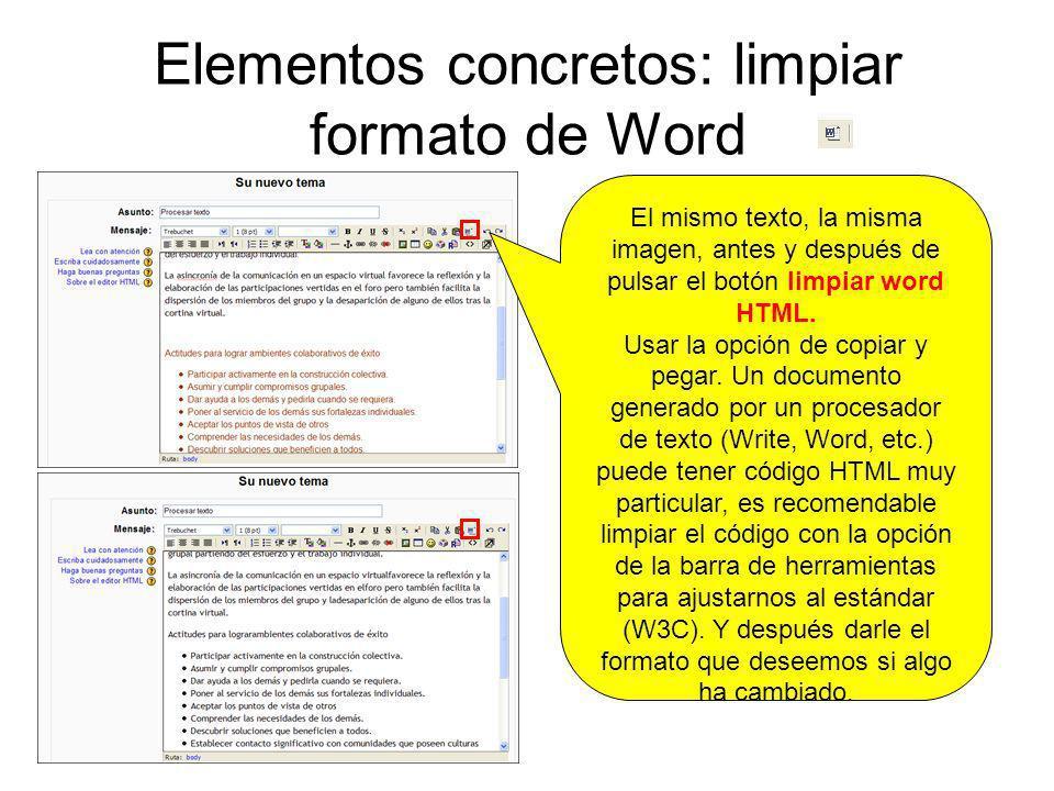 Elementos concretos: limpiar formato de Word