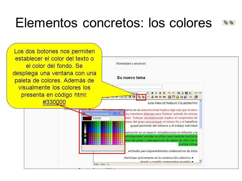 Elementos concretos: los colores