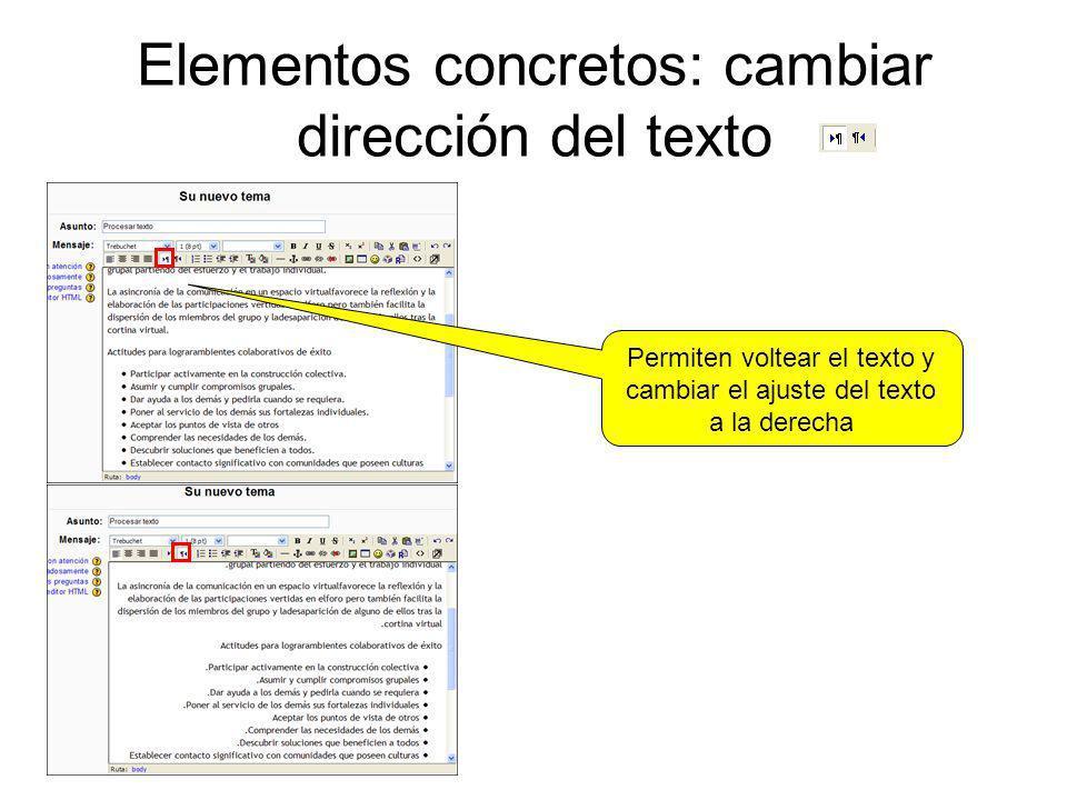 Elementos concretos: cambiar dirección del texto