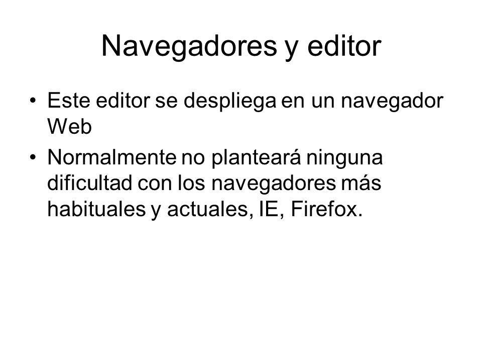 Navegadores y editor Este editor se despliega en un navegador Web