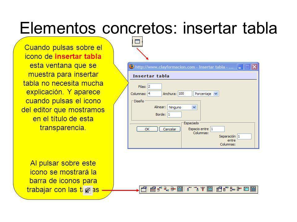 Elementos concretos: insertar tabla