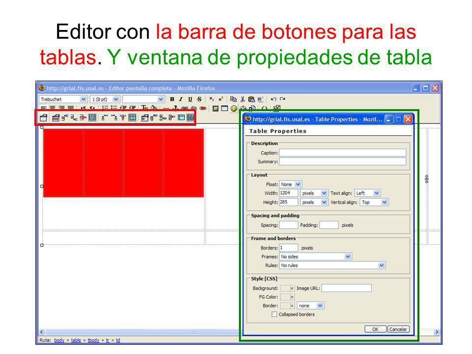 Editor con la barra de botones para las tablas