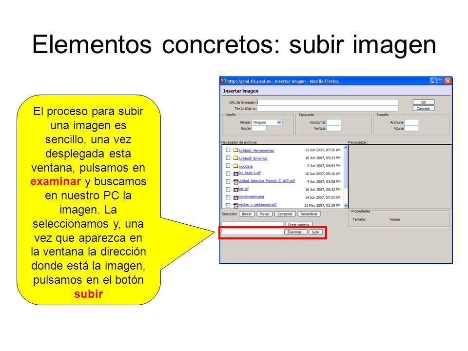 Elementos concretos: subir imagen