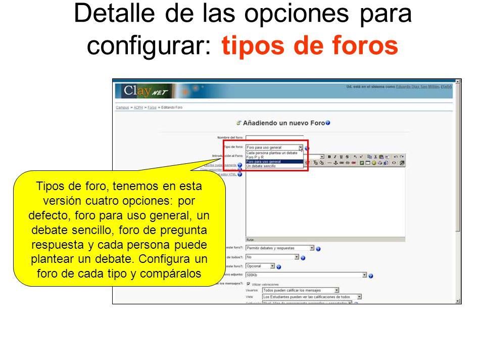 Detalle de las opciones para configurar: tipos de foros