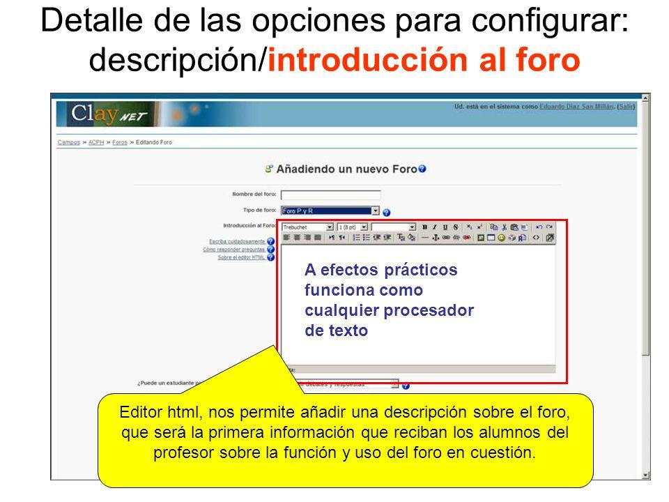 Detalle de las opciones para configurar: descripción/introducción al foro