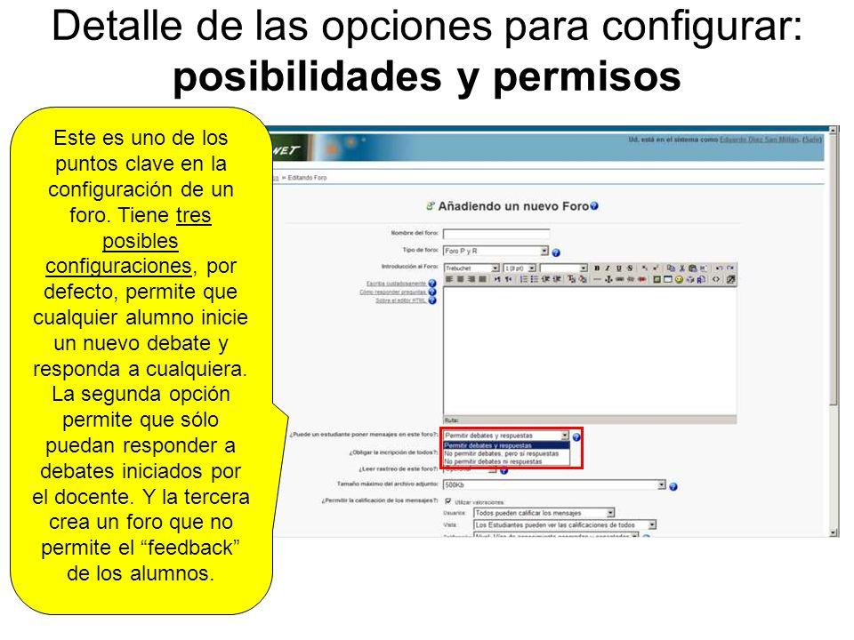 Detalle de las opciones para configurar: posibilidades y permisos