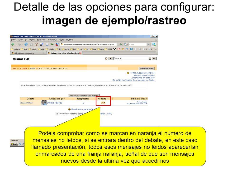 Detalle de las opciones para configurar: imagen de ejemplo/rastreo