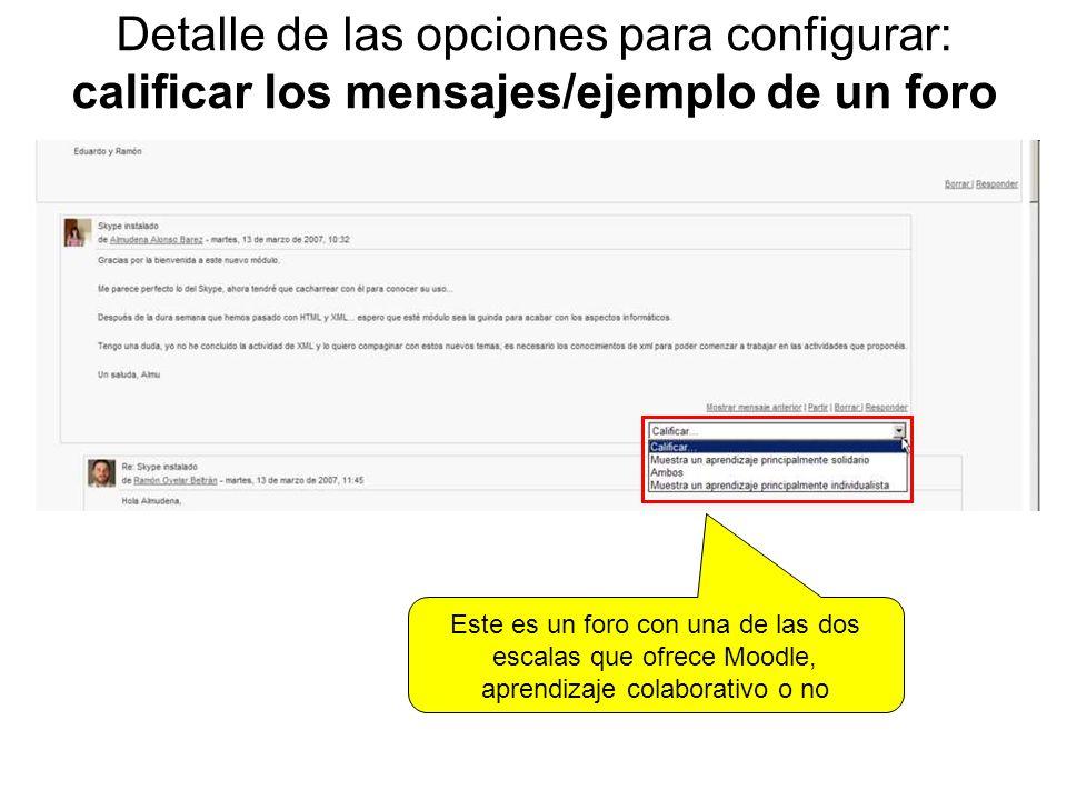 Detalle de las opciones para configurar: calificar los mensajes/ejemplo de un foro