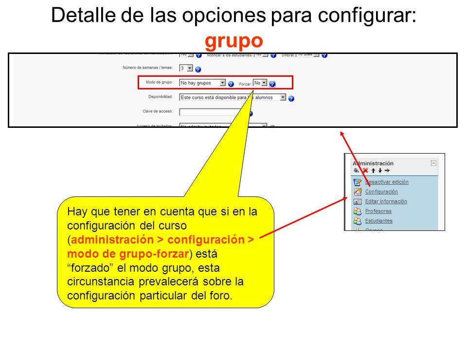 Detalle de las opciones para configurar: grupo