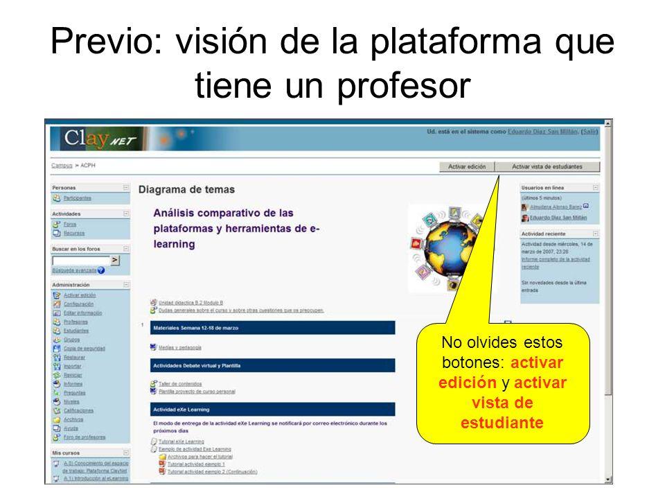 Previo: visión de la plataforma que tiene un profesor