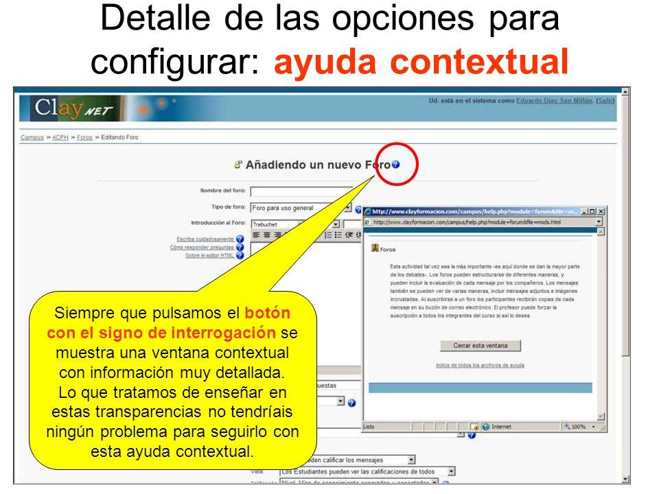 Detalle de las opciones para configurar: ayuda contextual