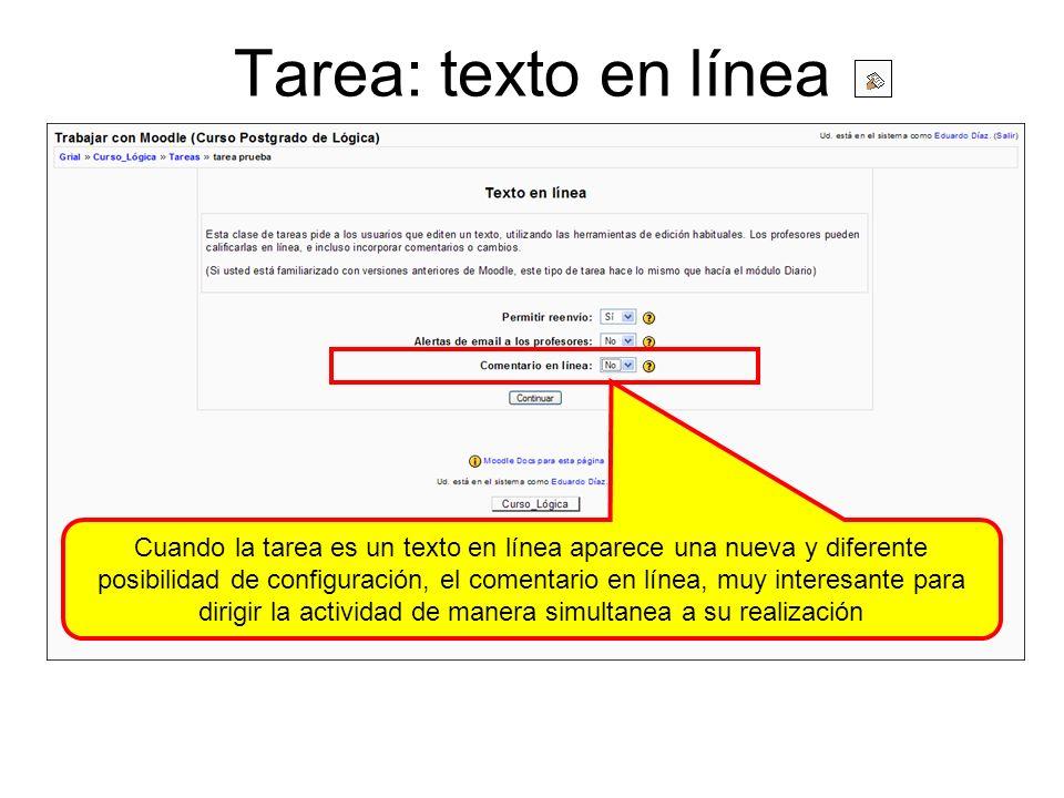 Tarea: texto en línea