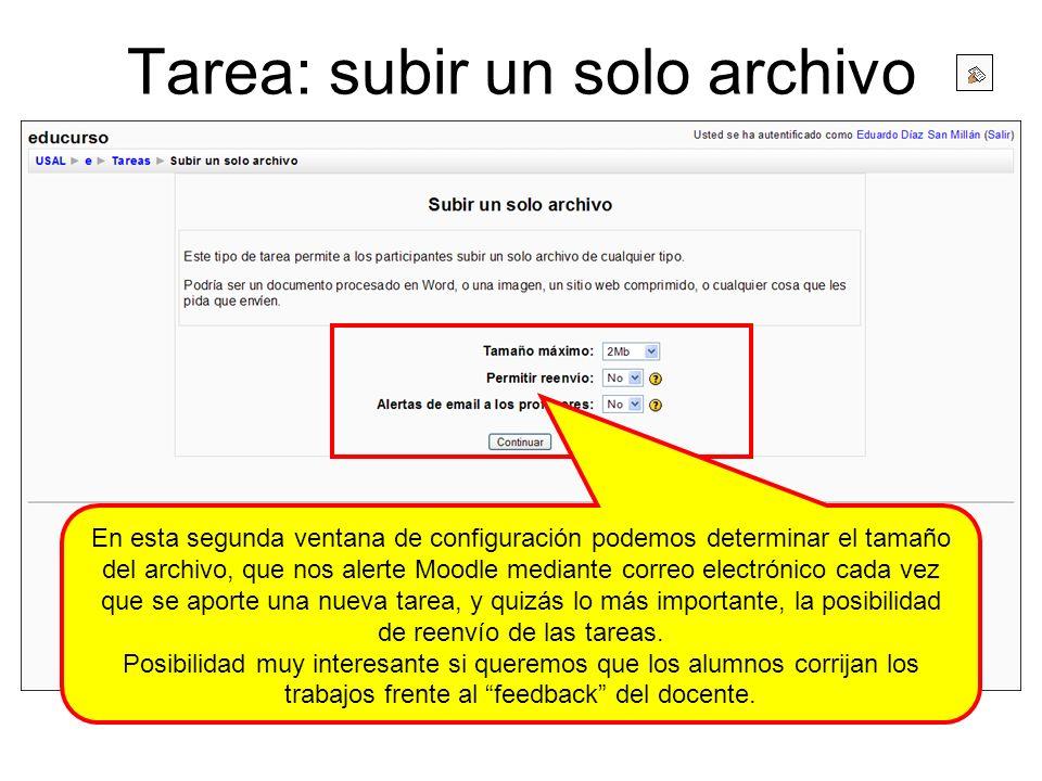 Tarea: subir un solo archivo
