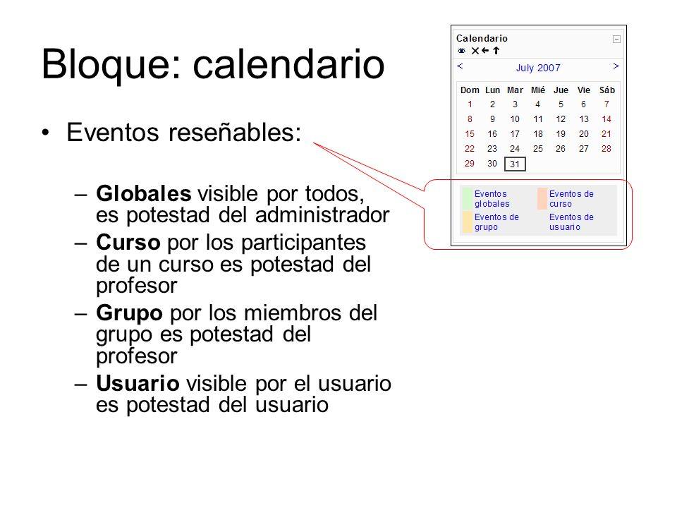 Bloque: calendario Eventos reseñables: