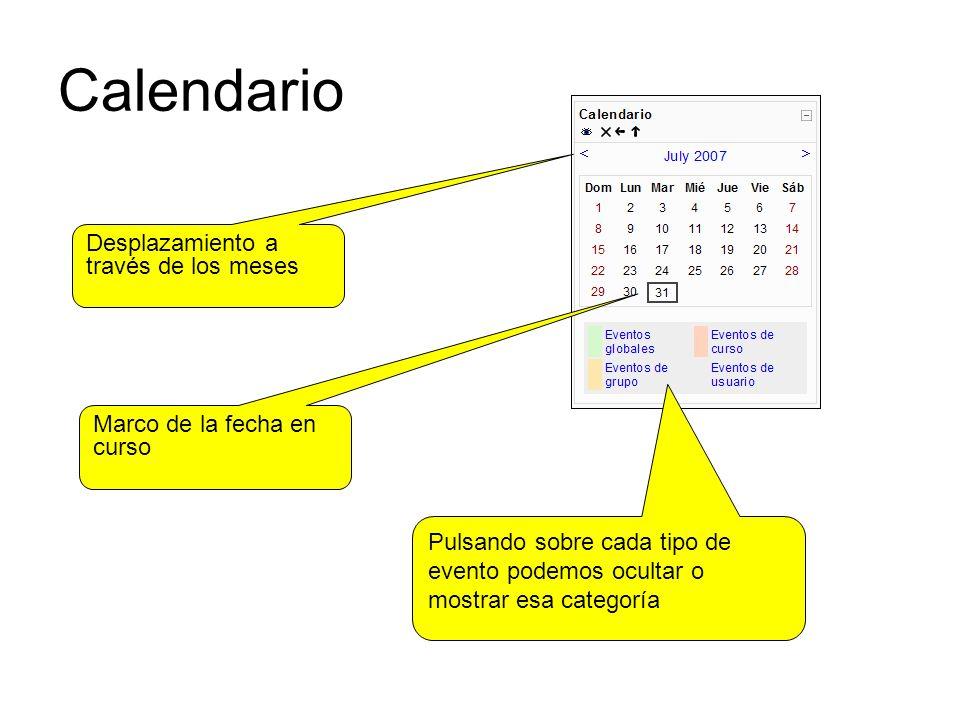 Calendario Desplazamiento a través de los meses