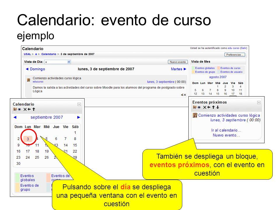 Calendario: evento de curso ejemplo