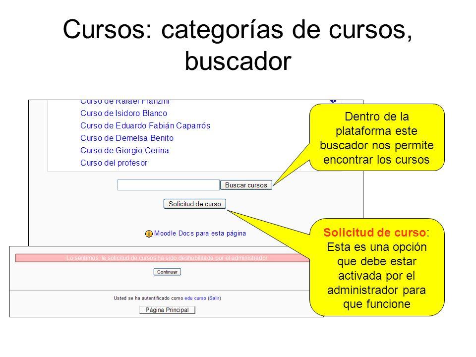 Cursos: categorías de cursos, buscador
