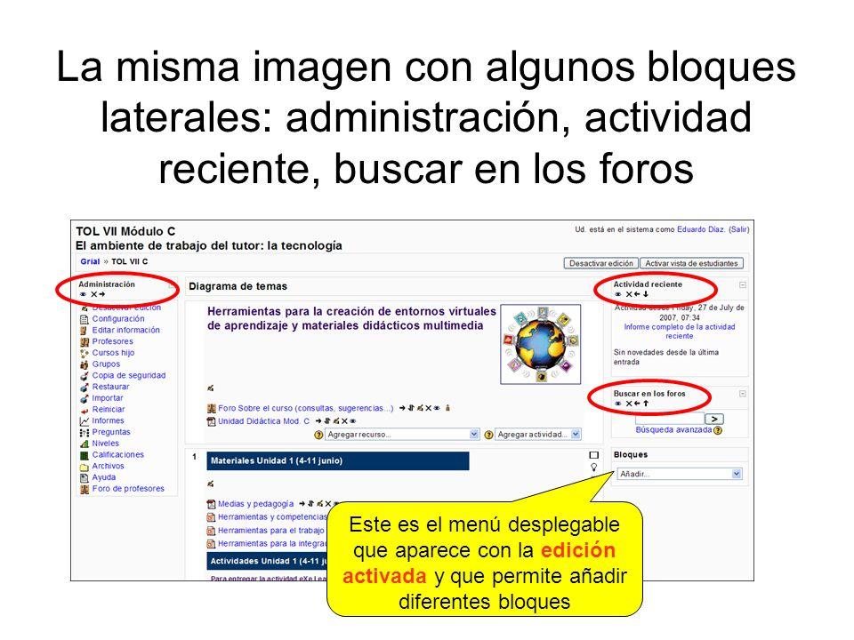 La misma imagen con algunos bloques laterales: administración, actividad reciente, buscar en los foros