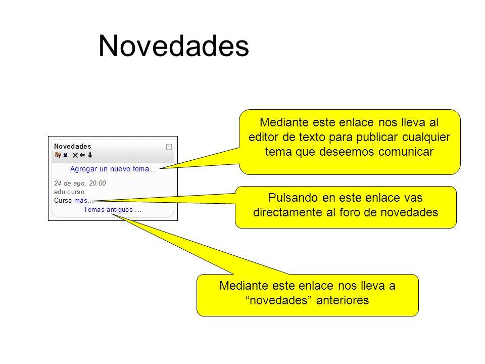 Novedades Mediante este enlace nos lleva al editor de texto para publicar cualquier tema que deseemos comunicar.