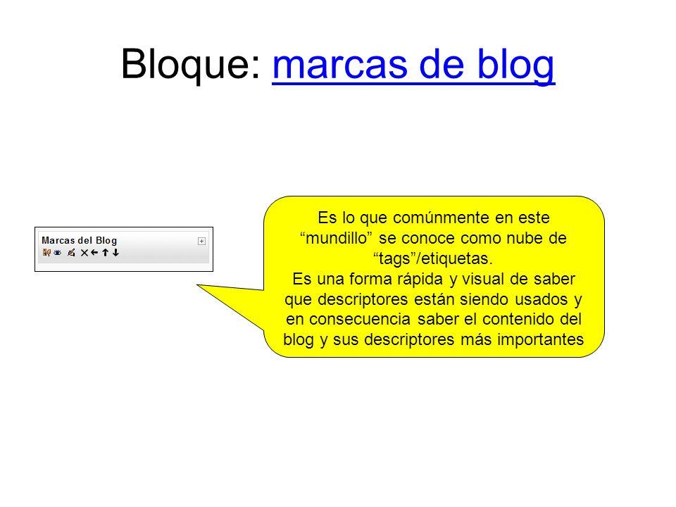 Bloque: marcas de blog Es lo que comúnmente en este mundillo se conoce como nube de tags /etiquetas.