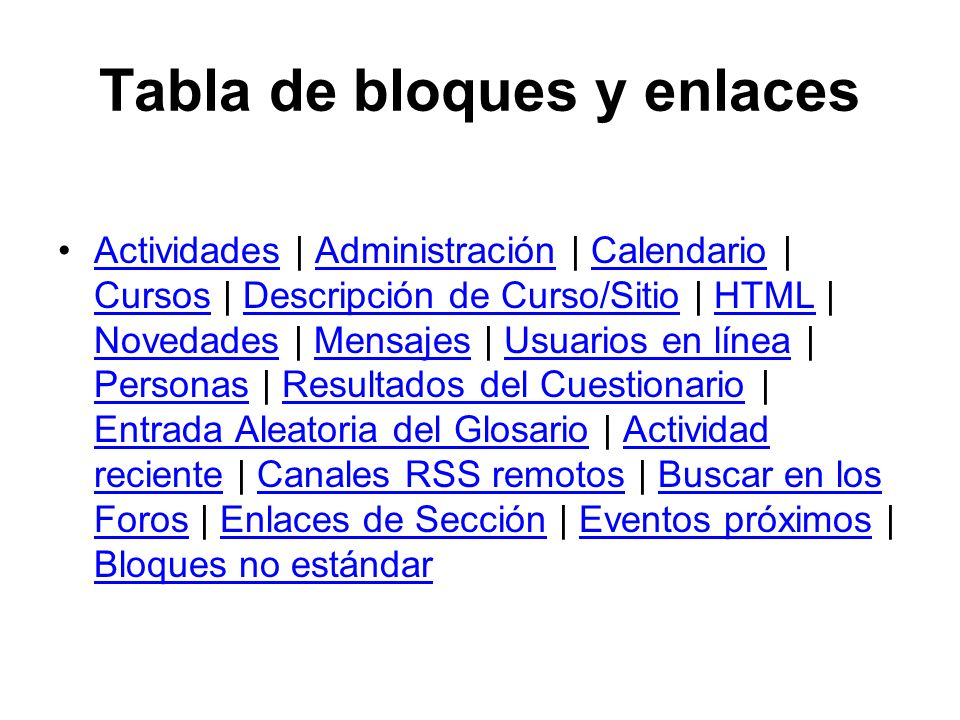 Tabla de bloques y enlaces