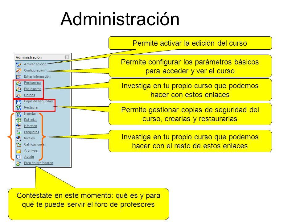 Administración Permite activar la edición del curso
