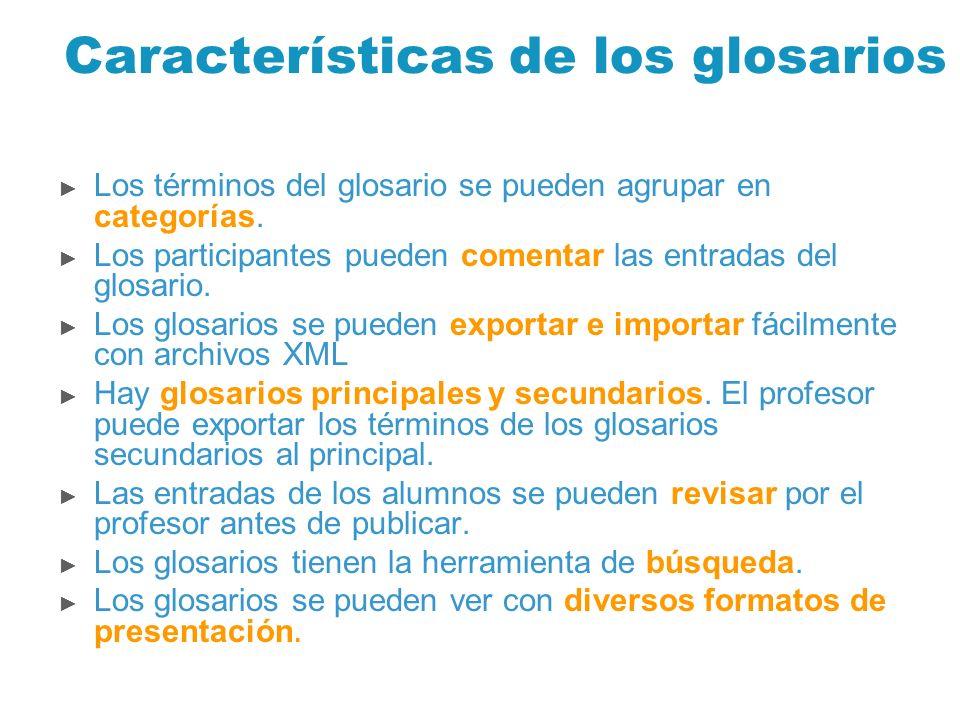 Características de los glosarios