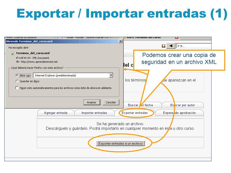 Exportar / Importar entradas (1)
