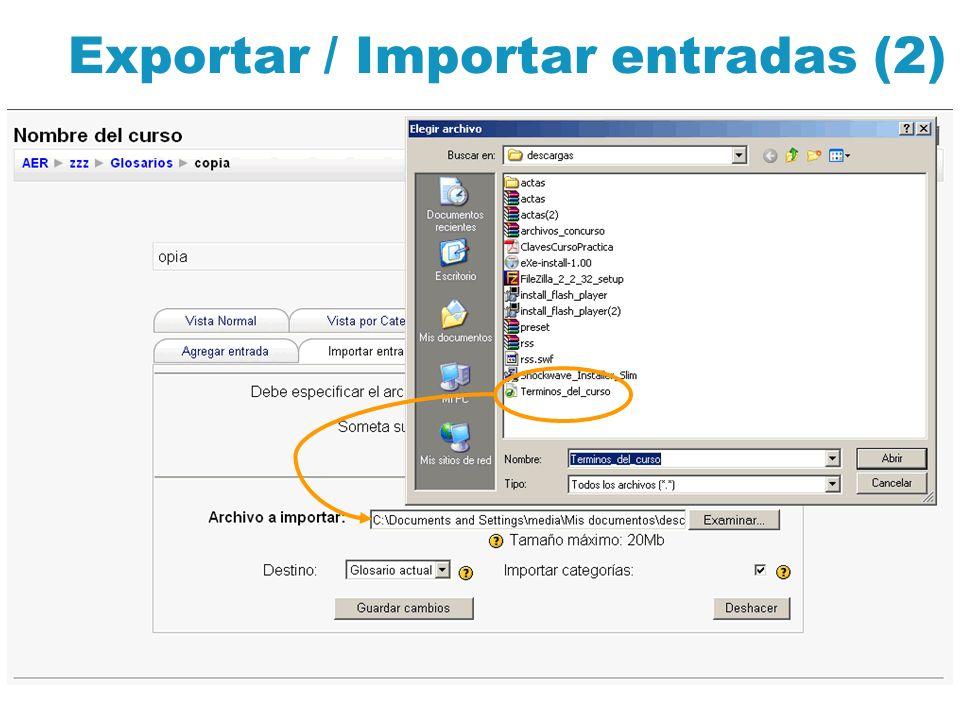Exportar / Importar entradas (2)