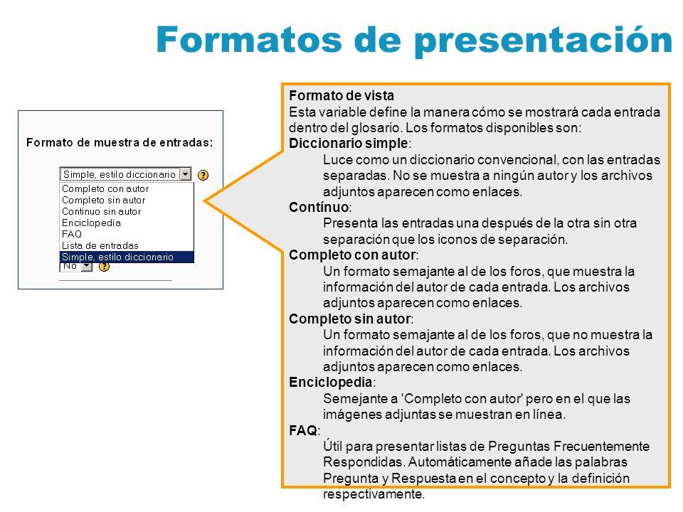 Formatos de presentación