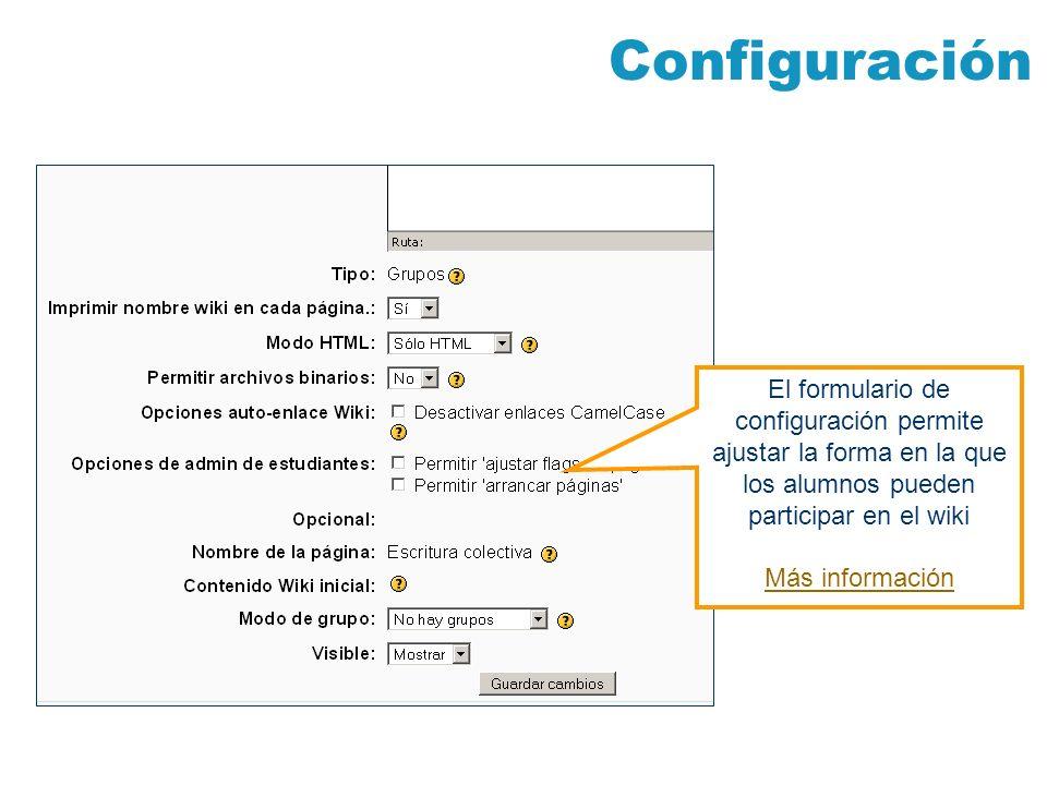 ConfiguraciónEl formulario de configuración permite ajustar la forma en la que los alumnos pueden participar en el wiki.