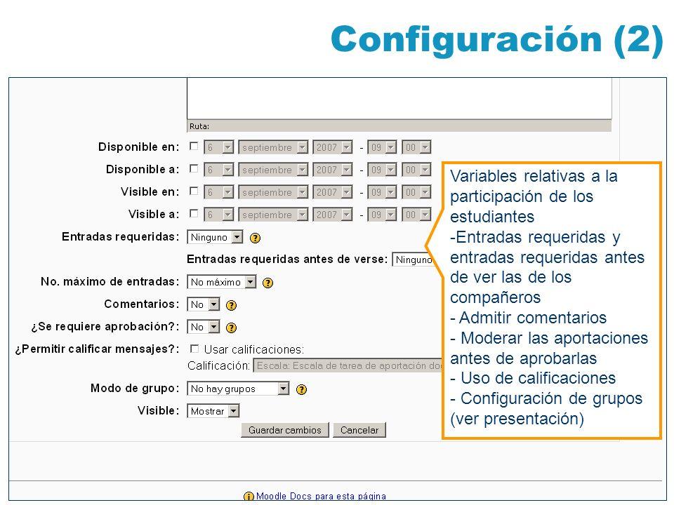 Configuración (2) Variables relativas a la participación de los estudiantes.