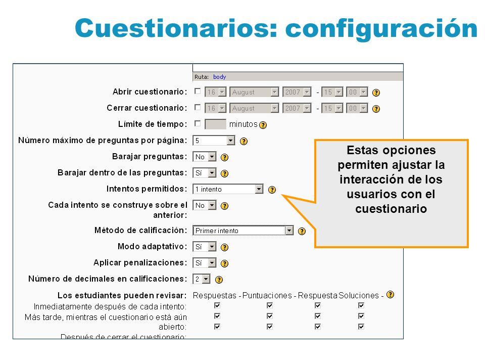 Cuestionarios: configuración