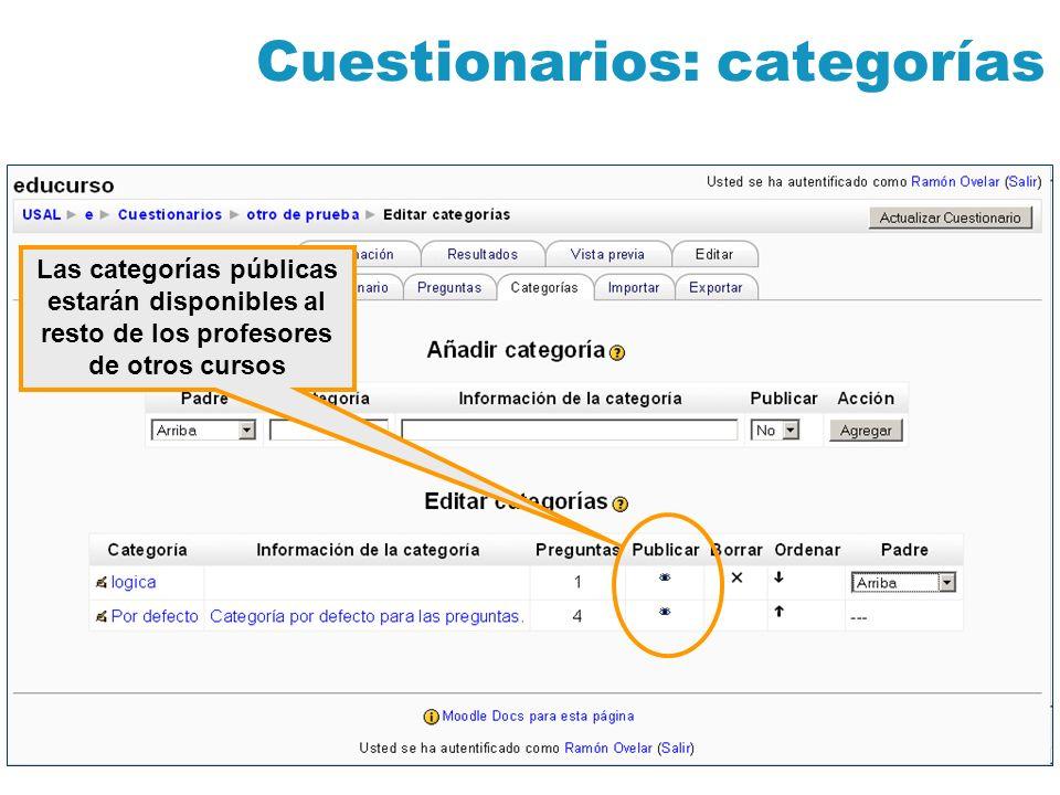 Cuestionarios: categorías