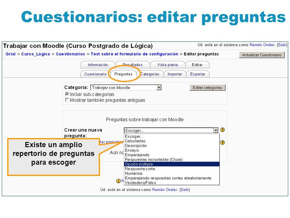 Cuestionarios: editar preguntas