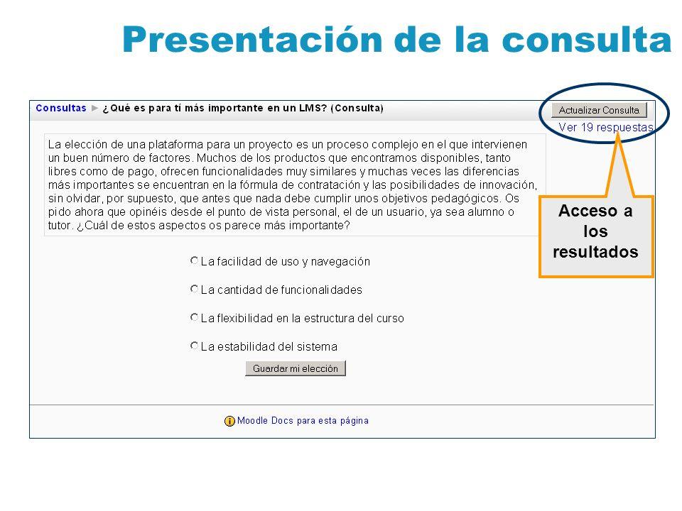 Presentación de la consulta