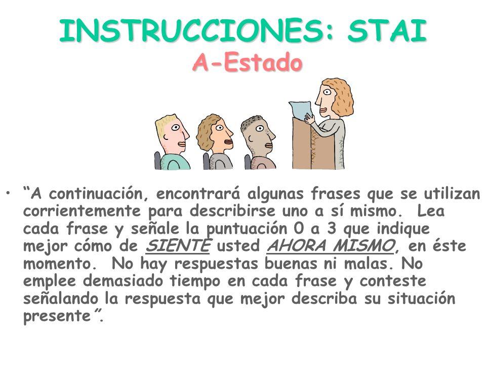 INSTRUCCIONES: STAI A-Estado