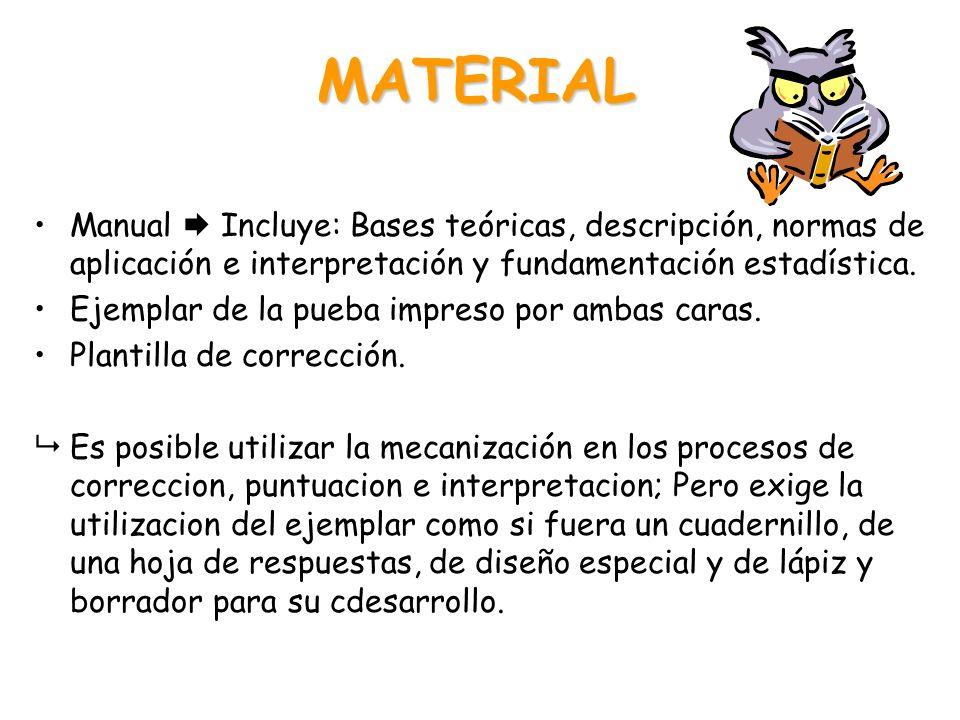 MATERIAL Manual  Incluye: Bases teóricas, descripción, normas de aplicación e interpretación y fundamentación estadística.