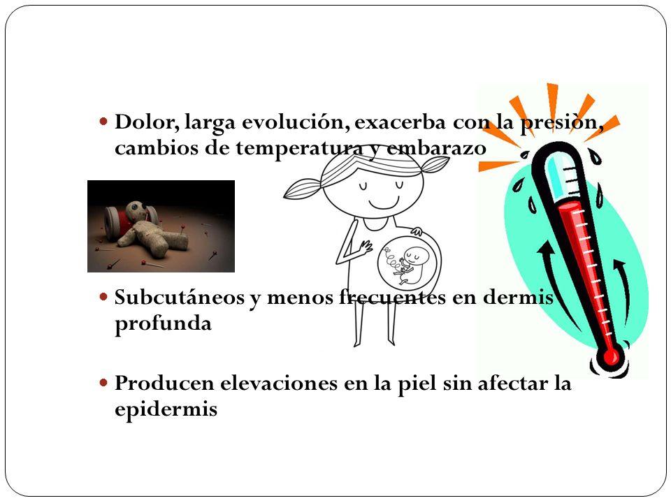 Dolor, larga evolución, exacerba con la presiòn, cambios de temperatura y embarazo