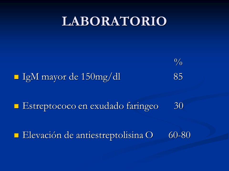 LABORATORIO % IgM mayor de 150mg/dl 85