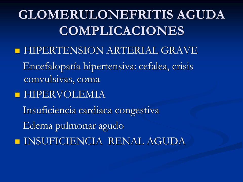GLOMERULONEFRITIS AGUDA COMPLICACIONES