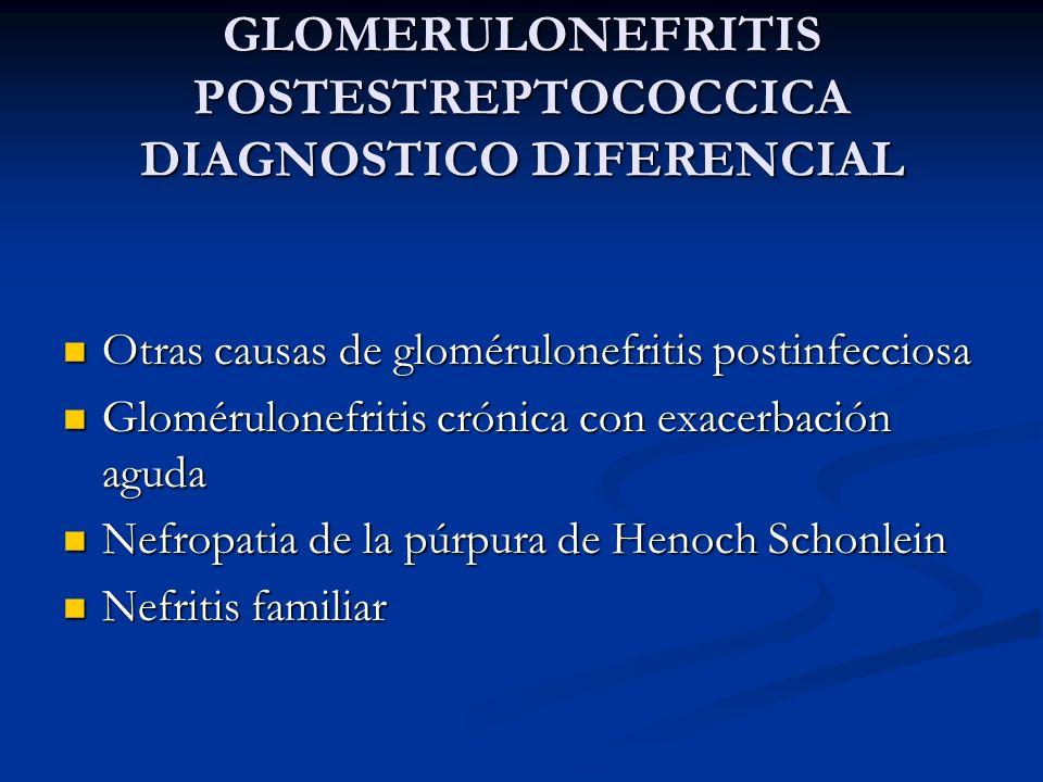 GLOMERULONEFRITIS POSTESTREPTOCOCCICA DIAGNOSTICO DIFERENCIAL