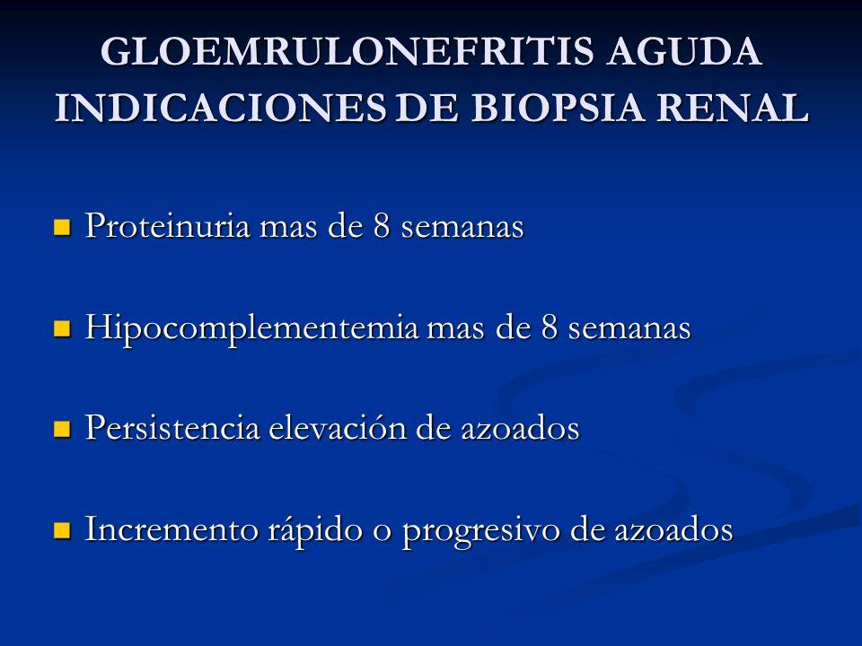 GLOEMRULONEFRITIS AGUDA INDICACIONES DE BIOPSIA RENAL