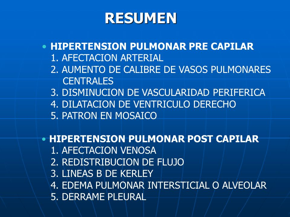 RESUMEN HIPERTENSION PULMONAR PRE CAPILAR 1. AFECTACION ARTERIAL