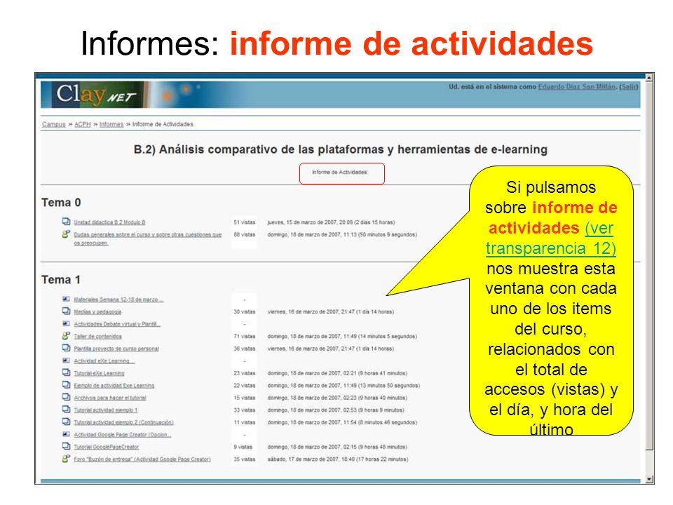 Informes: informe de actividades