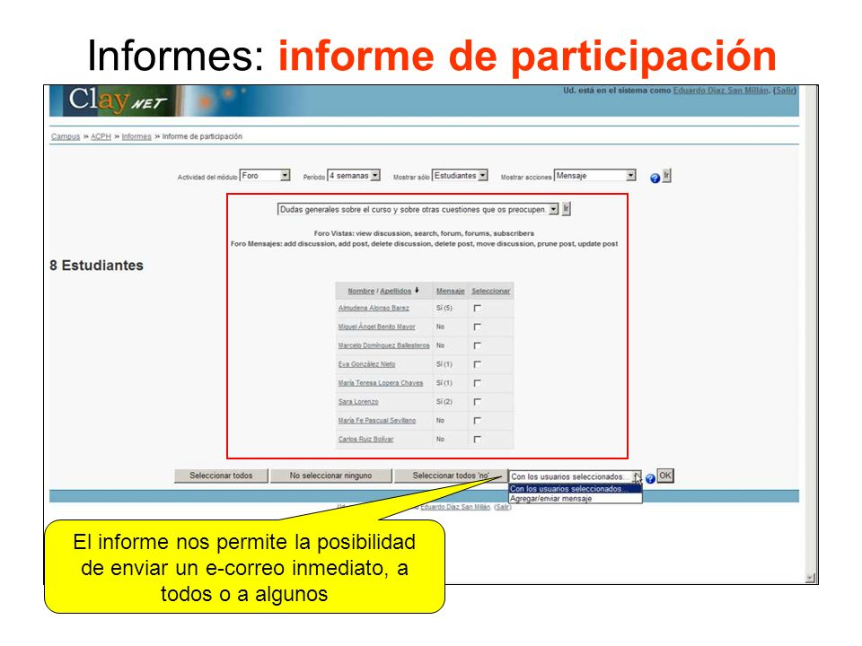 Informes: informe de participación